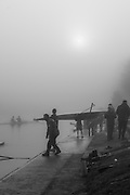 Boston, United Kingdom, The Sun, burning of the mist, as the crews prepare to get on the water for the  GB Rowing Team October 5km Time Trial, on Sunday  01/11/2015  River Witham,  Lincolnshire <br /> <br /> [Mandatory Credit: Peter SPURRIER: Intersport Images]