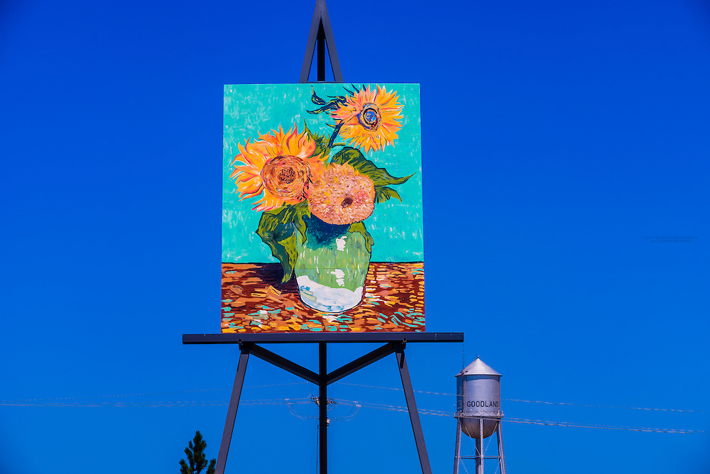 """Replica of Van Gogh's Three Sunflowers in a Vase by Cameron Cross (the painting is 80 feet tall), The easel,billed as """"The World's Largest Easel"""" is 32x24 feet; Goodland, Western Kansas USA."""