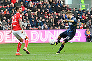 Robbie Gotts (53) of Leeds United shoots at goal during the EFL Sky Bet Championship match between Bristol City and Leeds United at Ashton Gate, Bristol, England on 9 March 2019.