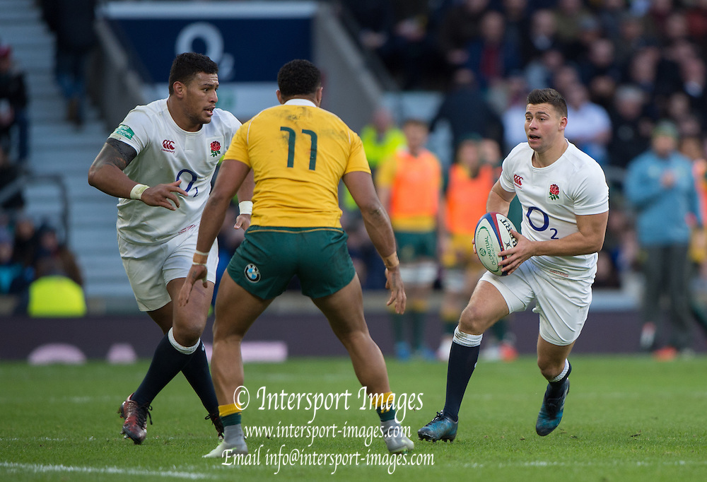 Twickenham, United Kingdom. {R} Ben YOUNGS and {L} Nathan HUGHES combine to find a way round Sefa NAIVALU, during the Old Mutual Wealth Series Rest Match: England vs Australia, at the RFU Stadium, Twickenham, England, <br /> <br /> Saturday  03/12/2016<br /> <br /> [Mandatory Credit; Peter Spurrier/Intersport-images]