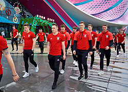 NANNING, CHINA - Wednesday, March 21, 2018: Wales' Daniel James, Connor Roberts and Tom Lockyer during a team walk near the Wanda Realm Resort ahead of the 2018 Gree China Cup International Football Championship. (Pic by David Rawcliffe/Propaganda)