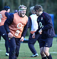 10 Feb 2010 Pennyhill Park, Bagshot, UK: Dan Cole (3) trains with Toby Flood (R) during the England rugby team training camp prior to the match against Italy. Dan Cole will start his first match for England. (Photo © Andrew Tobin www.slikimages.com)