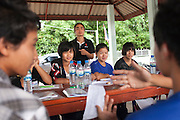 Myo Aung of Shan Youth Power (SYP) asks questions of youths during a recap session at a two-day training of ethnic Shan youth on HIV/AIDS prevention run at Ban Wiang Wai, Chiang Mai, Thailand on July 16, 2011.