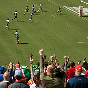 Kenya fans celebrate as Kenya defeat France 14-17 in the challenge trophy semi finals of the USA Sevens,  Round Five of the World Rugby HSBC Sevens Series in Las Vegas, Nevada, Sunday March 5, 2017. <br /> <br /> Jack Megaw for USA Sevens.<br /> <br /> www.jackmegaw.com<br /> <br /> jack@jackmegaw.com<br /> @jackmegawphoto<br /> [US] +1 610.764.3094<br /> [UK] +44 07481 764811