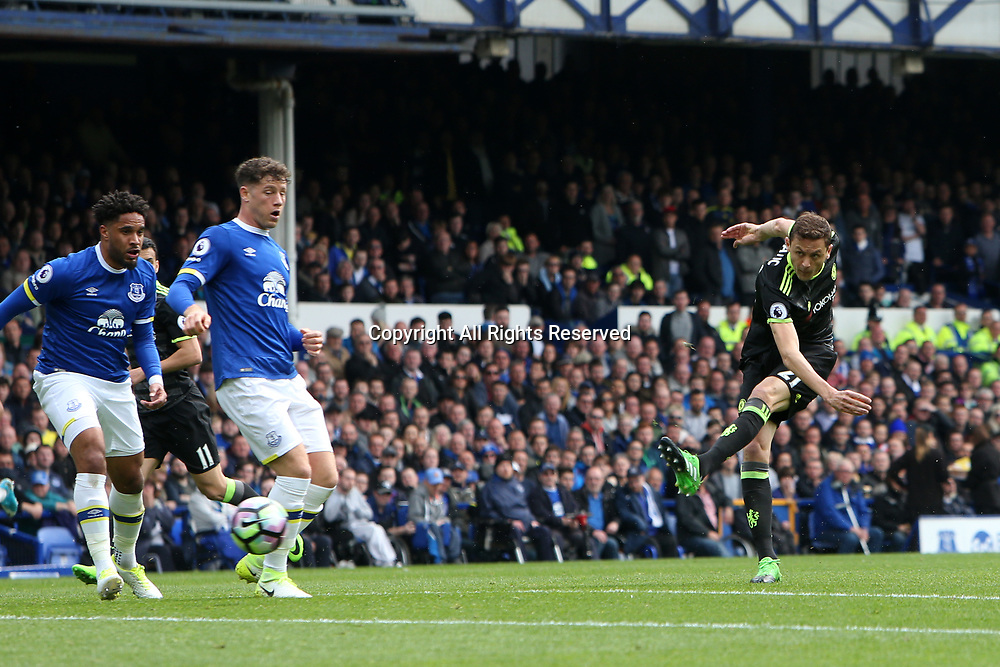 April 30th 2017, Goodison Park, Liverpool, England; EPL Premier league football, Everton versus Chelsea; Nemanja Matic of Chelsea fires a shot at goal.