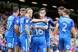 Junior Morias of Peterborough United is congratulated by strike partner Jack Marriott after scoring his first goal of the game - Mandatory by-line: Joe Dent/JMP - 23/09/2017 - FOOTBALL - ABAX Stadium - Peterborough, England - Peterborough United v Wigan Athletic - Sky Bet League One