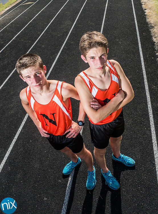 Northwest Cabarrus long distance runners Ethan and Logan Bemis.
