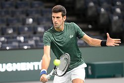 October 28, 2018 - Paris, France - NOVAK DJOKOVIC of Serbia practices in advance of the Rolex Paris Masters tennis tournament in Paris France. (Credit Image: © Christopher Levy/ZUMA Wire)