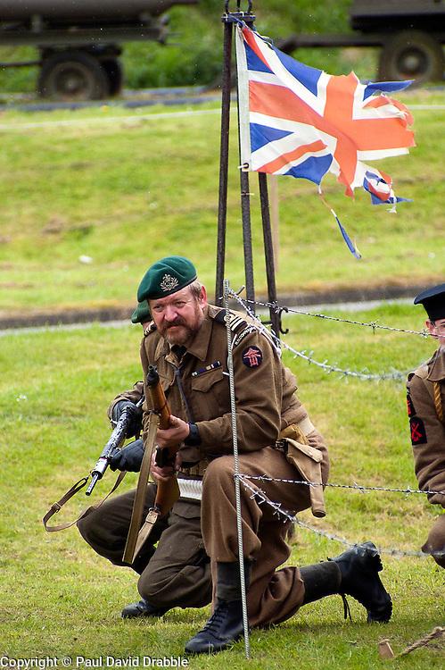 reenactors portray members of British Fox Commando Royal Navy during a battle reenactment at Fort Paull nr Hull on Monday 7 May 2012<br /> Image &copy; Paul David Drabble