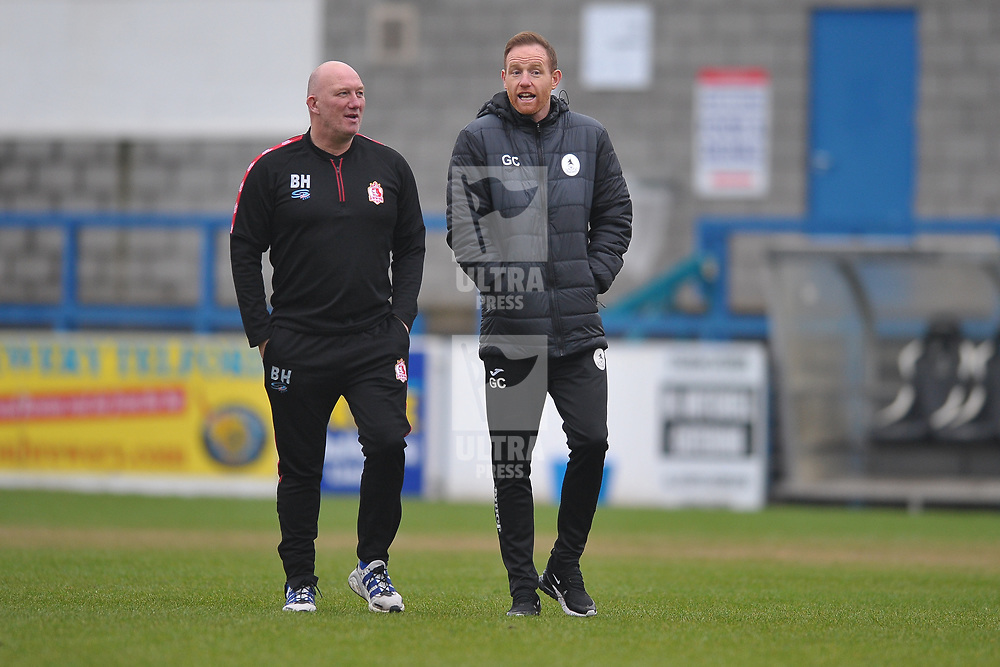 TELFORD COPYRIGHT MIKE SHERIDAN Alfreton boss Billy Heath chats to Telford boss Gavin Cowan before the Vanarama Conference North fixture between AFC Telford United and Alfreton Town at the New Bucks Head Stadium on Thursday, December 26, 2019.<br /> <br /> Picture credit: Mike Sheridan/Ultrapress<br /> <br /> MS201920-036