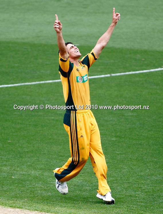 Australian bowler Mitchell Johnson celebrates a wicket. 4th one day international. New Zealand Black Caps versus Australia one day Chappell Hadlee cricket series. Eden Park, Auckland, New Zealand. Thursday 11 March 2010. Photo: Simon Watts/PHOTOSPORT