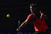 0910.2015. Beijing, China. Jack Sock of the United States returns a shot during the mens singles quarterfinal of the China Open tennis tournament against Spains Rafael Nadal in Beijing, China, Oct. 9, 2015. Sock lost 1-2.