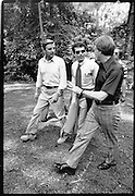 President Jimmy Carter walks with Vice President Walter Mondale and Chief of Staff, Jack Watson at Camp David.