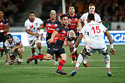 Benjamin Botica of Oyonnax and Delon Armitage of Lyon during the French Championship Top 14 Rugby Union match between US Oyonnax Rugby and Lyon OU on April 28, 2018 at Charles Mathon stadium in Oyonnax, France - Photo Romain Biard / Isports / ProSportsImages / DPPI