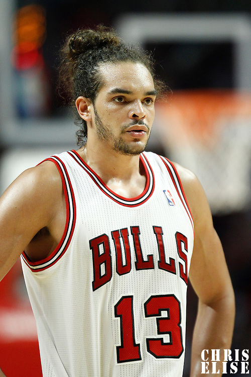14 March 2012: Chicago Bulls center Joakim Noah (13) rests during the Chicago Bulls 106-102 victory over the Miami Heat at the United Center, Chicago, Illinois, USA.