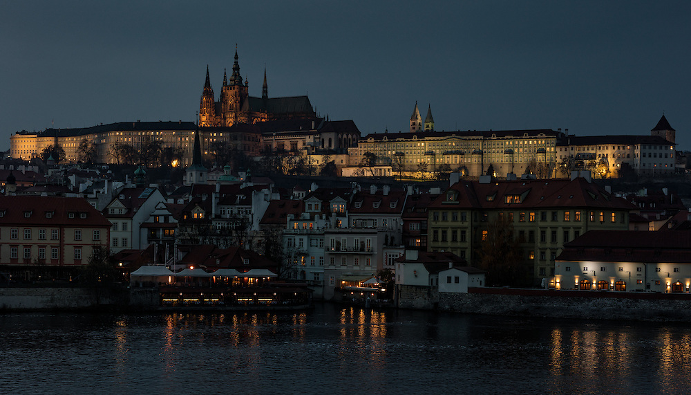 Prague Palace at Night in late November.