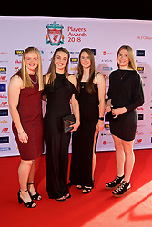 LIVERPOOL, ENGLAND - Thursday, May 10, 2018: Liverpool FC Ladies' goalkeeper Rebecca Flaherty, Niamh Charles, Ellie Fletcher and xxxx arrive on the red carpet for the Liverpool FC Players' Awards 2018 at Anfield. (Pic by David Rawcliffe/Propaganda)