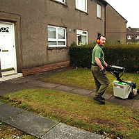Britain's Got Talent contestant Susan Boyle from Blackburn, West Lothian had her grass cut by the West Lothian Council this morning, Wednesday 22nd April 2009...Picture Richard Scott/Maverick