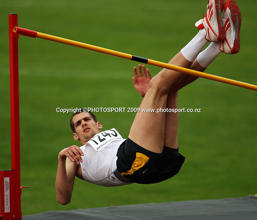 Great Britain's Robbie Grabarz competes in the men's high jump.<br /> National athletics championships at Newtown Park, Wellington. Friday, 27 March 2009. Photo: Dave Lintott/PHOTOSPORT