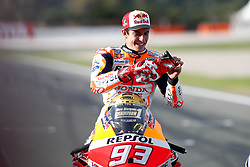 November 17, 2019, Cheste, VALENCIA, SPAIN: Marc Marquez, rider of Repsol Honda Team from Spain, put his gloves during the World Champion photo during the Valencia Grand Prix of MotoGP World Championship celebrated at Circuit Ricardo Tormo on November 16, 2019, in Cheste, Spain. (Credit Image: © AFP7 via ZUMA Wire)