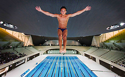 Client LOCOG: Tom Daley dives at The Aquatic Centre to mark one year to go to the London 2012 Olympic Games. Photo: David Poultney
