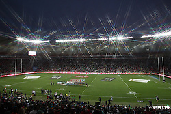 The Teams sing the anthems before the start of the Cup Final during the Cup Final match between South Africa and New Zealand on Day 2 of the HSBC Sevens World Series Port Elizabeth Leg held at the Nelson Mandela Bay Stadium on 8th December 2013 in Port Elizabeth, South Africa. Photo by Shaun Roy/Sportzpics