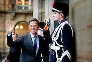 12-1-2016 AMSTERDAM Mark rutte Koning Willem-Alexander en Koningin Maxima houden dinsdag 12 januari 2016 de traditionele Nieuwjaarsontvangst voor Nederlandse genodigden in het paleis op de dam . prinses beatrix  prinses Margriet . COPYRIGHT ROBIN UTRECHT<br /> AMSTERDAM 12-1-2016 King Willem-Alexander and Queen Maxima arrive Tuesday, January 12th, 2016 for the traditional New Year Reception for Dutch guests in the palace on the dam. princess beatrix Princess Margriet . COPYRIGHT ROBIN UTRECHT