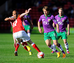 Bristol City's Luke Freeman battles for the ball with Walsall's Adam Chambers  - Photo mandatory by-line: Joe Meredith/JMP - Mobile: 07966 386802 - 04/10/2014 - SPORT - Football - Walsall - Bescot Stadium - Walsall v Bristol City - Sky Bet League One
