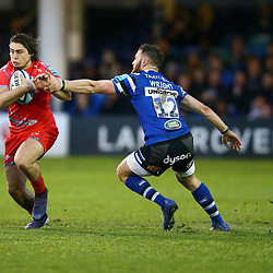 James O'Connor of Sale Sharks gets past Max Wright of Bath Rugby during the Gallagher Premiership match between Bath Rugby and Sale Sharks at the The Recreation Ground Bath England.2nd December 2018,(Photo by Steve Haag Sports)