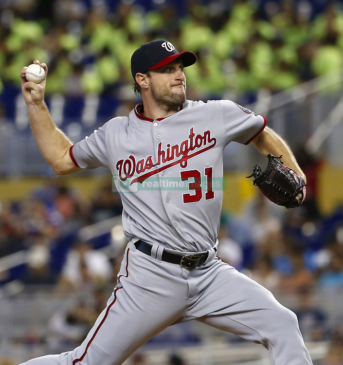 June 21, 2017 - Miami, FL, USA - Washington Nationals pitcher Max Scherzer pitches during the fifth inning against the Miami Marlins on Wednesday, June 21, 2017 at Marlins Park in Miami, Fla. (Credit Image: © David Santiago/TNS via ZUMA Wire)