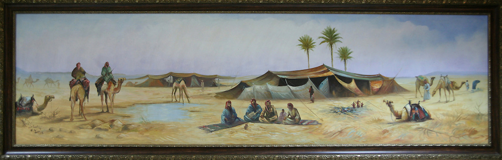 A painting of desert life in Jordan.