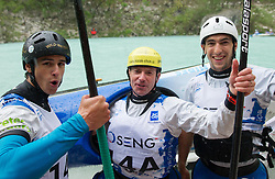 Peter Znidarsic, Simon Hocevar and Blaz Cof of Slovenia celebrates after 3rd place in 3 x C1 men at sprint teams race at European wildwater Canoeing Championships Soca 2013 on May 12, 2013 in Trnovo ob Soci, Soca river, Slovenia. (Photo By Vid Ponikvar / Sportida)
