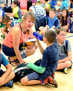 Wendy Leatherman chats with some of her students on the first day of classes at West Rockhill Elementary School Monday August 29, 2016 in West Rockhill Township, Pennsylvania.  (Photo by William Thomas Cain)