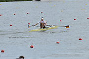 Eton Dorney, Windsor, Great Britain,..2012 London Olympic Regatta, Dorney Lake. Eton Rowing Centre, Berkshire[ Rowing]...Description;  GER M1X Marcel HACKER  moves away from the start in his heat of the Men's Single Sculls,  Dorney Lake. 14:40:12  Saturday  28/07/2012. [Mandatory Credit: Peter Spurrier/Intersport Images].
