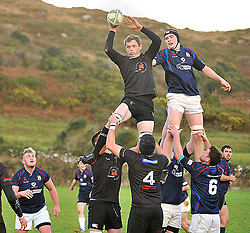 Connemara's Kevin Keogh and Westport's Eddie Dunning contest the lineout during the junior league match between Connemara and Westport in Clifden.<br /> Pic Conor McKeown