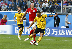 July 14, 2018 - Saint Petersbourg, Russie - SAINT PETERSBURG, RUSSIA - JULY 14 : Phil Jones defender of England & Eden Hazard midfielder of Belgiumduring the FIFA 2018 World Cup Russia Play-off for third place match between Belgium and England at the Saint Petersburg Stadium on July 14, 2018 in Saint Petersburg, Russia, 14/07/18 (Credit Image: © Panoramic via ZUMA Press)