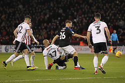 February 13, 2019 - Sheffield, South Yorkshire, United Kingdom - SHEFFIELD, UK 13TH FEBRUARY Lewis Wing of Middlesbrough battles with David McGoldrick of Sheffield United on the edge of their penalty area  during the Sky Bet Championship match between Sheffield United and Middlesbrough at Bramall Lane, Sheffield on Wednesday 13th February 2019. (Credit: Mark Fletcher | MI News) (Credit Image: © Mi News/NurPhoto via ZUMA Press)