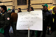 Roma 24 Novembre 2009.Ministero dell'Agricoltura.Gli agricoltori della Cia Confederazione italiana agricoltori manifestano per chiedere al governo interventi incisivi a favore di un settore messo in ginocchio dalla crisi economica..Rome 24 November 2009.Ministry of Agriculture.Farmers in the Italian Farmers Confederation Cia appear to demand the government far-reaching measures in favor of an industry brought to its knees by economic crisis..the banner reads: Mafia remove his hands from agriculture