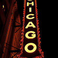 High resolution photo of the Chicago Theater marquee sign at night in downtown Chicago, Illinois. The Chicago Theater is a Chicago Landmark and is listed with the National Register of Historic Places. Photos, pictures, prints.