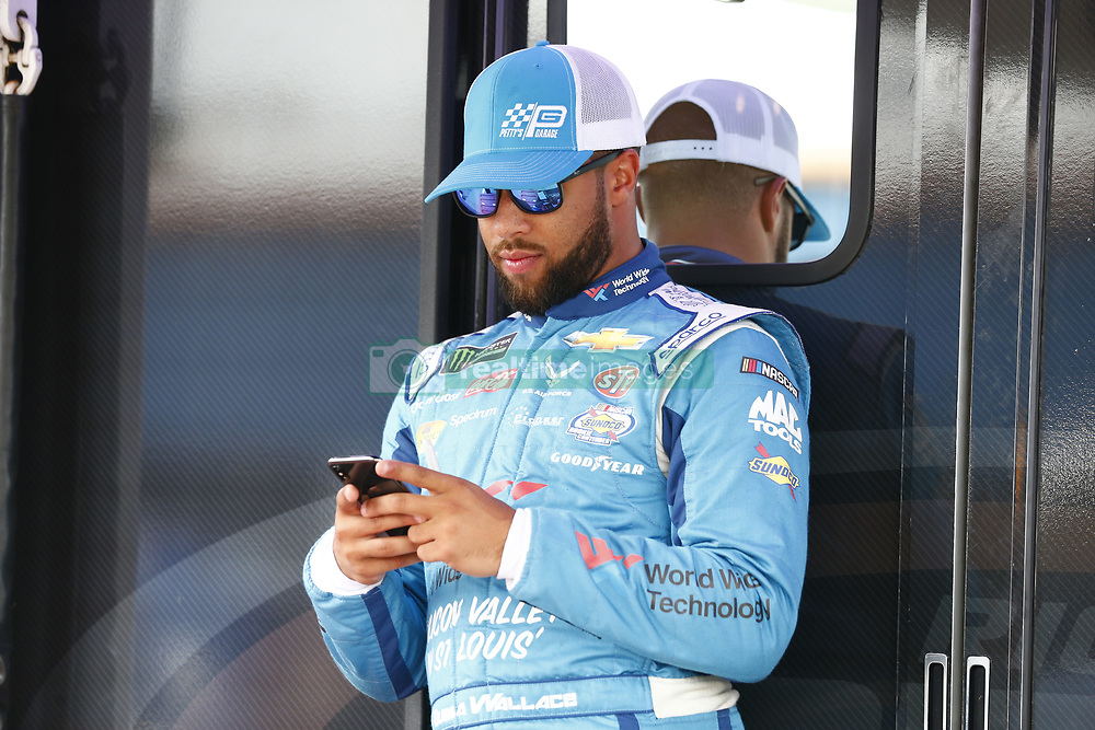 August 10, 2018 - Brooklyn, Michigan, United States of America - Darrell Wallace, Jr (43) hangs out in the garage during practice for the Consumers Energy 400 at Michigan International Speedway in Brooklyn, Michigan. (Credit Image: © Justin R. Noe Asp Inc/ASP via ZUMA Wire)