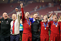 MADRID, SPAIN - SATURDAY, JUNE 1, 2019: Liverpool's captain Jordan Henderson celebrates after the UEFA Champions League Final match between Tottenham Hotspur FC and Liverpool FC at the Estadio Metropolitano. Liverpool won 2-0 to win their sixth European Cup. (Pic by David Rawcliffe/Propaganda)