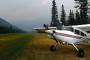 Maule M7-235C N1044L parked on grass runway at Johnson Creek, ID.  This backcountry strip is popular with pilots as a gateway to the Frank Church River of No Return Wilderness Area.  Pilots from all across the country fly into Johnson Creek to camp, socialize and explore backcountry flying.