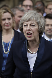 © Licensed to London News Pictures. 11/07/2016. London, UK. Home Secretary Theresa May speaks outside Parliament. Mrs May will become Prime Minister on Wednesday after the Andrea Leadsom stood down earlier today. Photo credit: Peter Macdiarmid/LNP