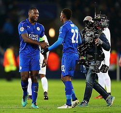 Wes Morgan of Leicester City celebrates at full time with Demarai Gray  - Mandatory by-line: Matt McNulty/JMP - 22/11/2016 - FOOTBALL - King Power Stadium - Leicester, England - Leicester City v Club Brugge - UEFA Champions League
