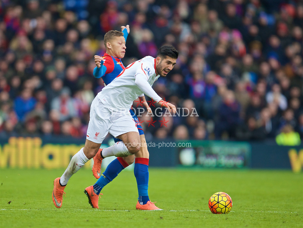 LONDON, ENGLAND - Sunday, March 6, 2016: Liverpool's Emre Can in action against Crystal Palace's Dwight Gayle during the Premier League match at Selhurst Park. (Pic by David Rawcliffe/Propaganda)