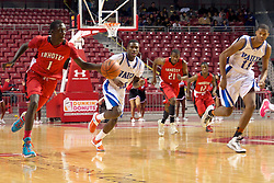 PIAA District 12 Public League Basketball Championships Final, Liacouras Center, Philadelphia, PA, USA - February 24, 2013; Brandon Austin, the game's eventual MVP despite fouling out late, dribbles the ball up court.