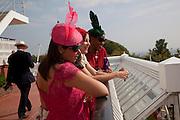 Daniella Issa Helayel; PEARL LOWE; SUSAN BENDER, Glorious Goodwood. Ladies Day. 28 July 2011. <br /> <br />  , -DO NOT ARCHIVE-© Copyright Photograph by Dafydd Jones. 248 Clapham Rd. London SW9 0PZ. Tel 0207 820 0771. www.dafjones.com.