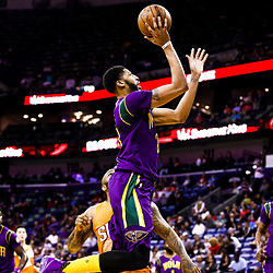 Feb 6, 2017; New Orleans, LA, USA; New Orleans Pelicans forward Anthony Davis (23) shoots against the Phoenix Suns during the first quarter of a game at the Smoothie King Center. Mandatory Credit: Derick E. Hingle-USA TODAY Sports