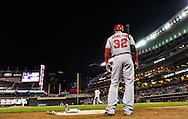 Josh Hamilton #32 of the Los Angeles Angels waits on-deck during a game against the Minnesota Twins on April 16, 2013 at Target Field in Minneapolis, Minnesota.  The Twins defeated the Angels 8 to 6.  Photo: Ben Krause