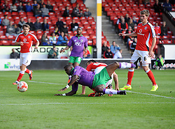 Walsall's Andrew Butler tackles Bristol City's Kieran Agard in the area  - Photo mandatory by-line: Joe Meredith/JMP - Mobile: 07966 386802 - 04/10/2014 - SPORT - Football - Walsall - Bescot Stadium - Walsall v Bristol City - Sky Bet League One